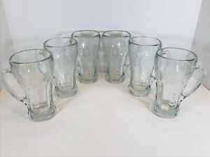 6 VINTAGE LIBBY 12OZ CLEAR GLASS COCA-COLA MUGS WITH HANDLES