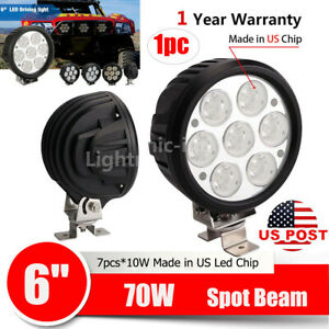 12v 6inch 70w Round Led Work Driving Light Spot Headlamp Offroad For Jeep Truck