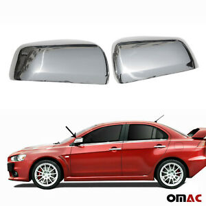 Fits Mitsubishi Lancer 2008 2017 Stainless Chrome Side Mirror Cover Cap 2 Pcs