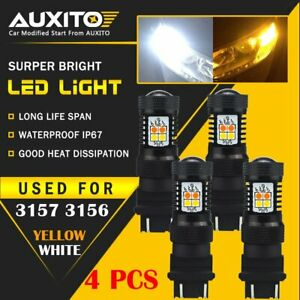 4x Auxito 3157 3156 Led Switchback White Yellow Amber Turn Signal Light Drl Bulb