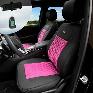Front Bucket Luxury Seat Covers Pu Leather Set Pink W Air Freshener