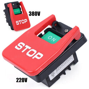 220v 380v Industrial Large On Off Push Button Switch W Emergency Stop Cover New