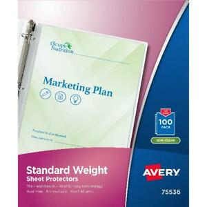 Avery 75536 Top load Sheet Protector Standard Letter Semi clear box Of 100