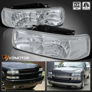 For 2000 2006 Chevy Silverado Suburban Tahoe Clear Headlights Lamps Left Right
