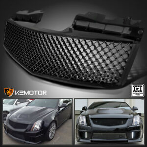 For 2003 2007 Cadillac Cts Cts V Glossy Black Mesh Bumper Front Hood Grille