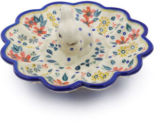 Polish Pottery Egg Plate 9 Red Anemone Meadow