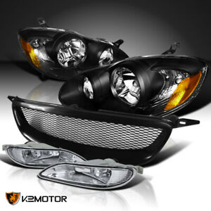 For 2005 2008 Toyota Corolla Black Headlights Mesh Grille Clear Fog Lamps Switch