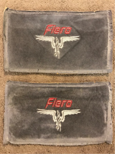 Two Embroidered Fiero Seat Cover Panels Gray Excellent