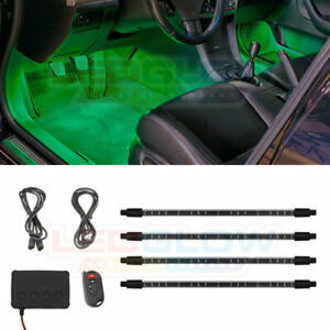 Ledglow 4pc Green Neon Led Expandable Interior Footwell Underdash Lighting Kit