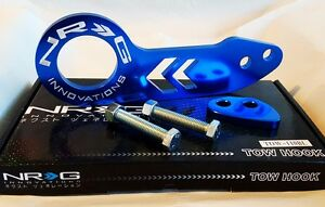 Nrg Rear Tow Hook Kit For Honda Acura Universal Jdm Style Blue W White Logo