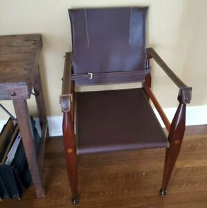 Brown Bridle Leather Wood British Colonial Campaign Chair By Authentic Models