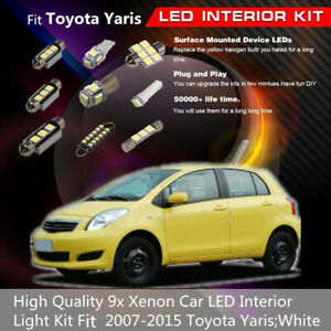 9x Xenon Bulbs Led Light Interior Car Accessories Fit Toyota Yaris 2007 2015