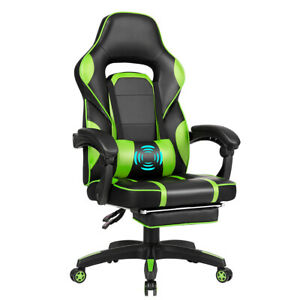 Massage Gaming Chair Recliner Racing Office Chair W Retractable Footrest Green