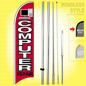 Computer Repair Windless Swooper Feather Flag 15 Tall Pole Sign Kit Rb h