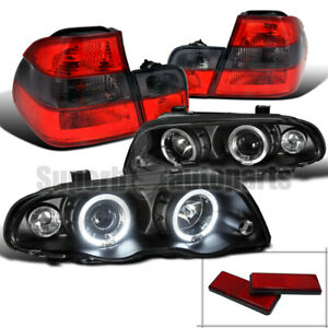 For 1999 2001 Bmw E46 Halo Projector Head Black tail Trunk Lights Red smoke