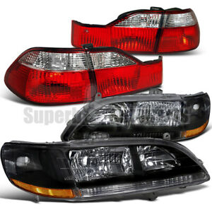 For 1998 2000 Honda Accord 4dr Sedan Headlights Black tail Lights Depo Red clear