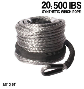 Synthetic Winch Rope 3 8 X 85 20500 Ibs Line Cable For 4wd Off Atv Utv Suv