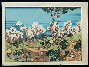Hokusai Japanese Chuban Woodblock Print Fuji From The Banks Of The Sumida River