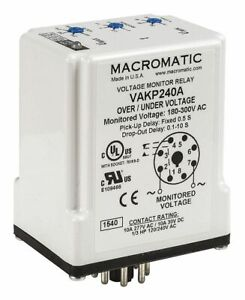 Macromatic Voltage Sensing Relay 120vac 10a 240v 8 Pins Mounting Plug In