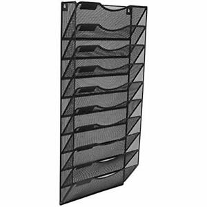 Office Wall File Holder Organizer Hanging Metal Magazine Rack 10 Tier Black