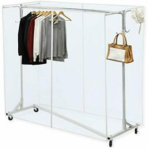 Industrial Grade Z base Garment Rack 400lb Load 62 Extra Long Bar W clear Tube