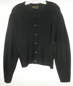 Geiger Black Wool Knit Cardigan Sweater With Metal Buttons Made In Austria Sz 44