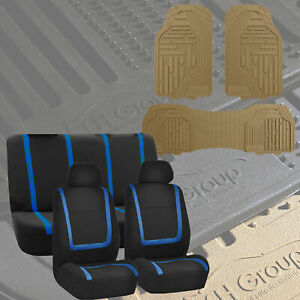 Black Blue Car Seat Covers For Auto With Beige Floor Mats Sedan Suv Van Truck