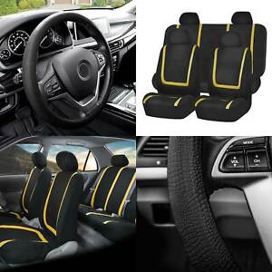 Flat Cloth Car Seat Cover Full Set Yellow W black Silicone Steering Wheel Cover