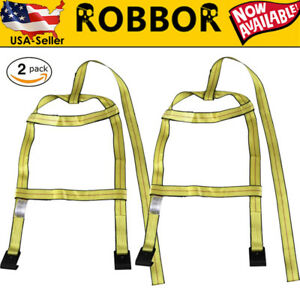 2x Demco Universal Tow Dolly Basket Straps Adjustable Wheel Net With Flat Hooks