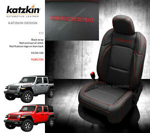 2018 2019 2020 2021 Jeep Wrangler Rubicon Jl Leather Seat Covers Black Red Logos