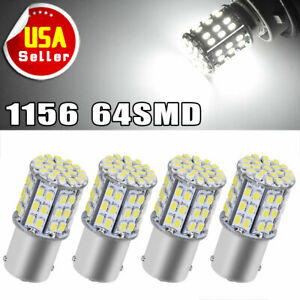 4x Ba15s 1156 White Car Rv Camper Trailer Super Bright 64 Smd Led Bulb12v
