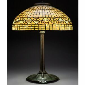 Tiffany Studios 20 Inch Acorn Stained Glass Shade And Bronze Table Lamp