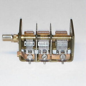 Vernier Multiturn 3 Section Variable Air Capacitor Vacuum Tube Radio Cap Nos