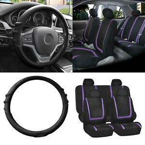 Cloth Seat Covers Full Set Purple W Black Silicone Steering Wheel Cover