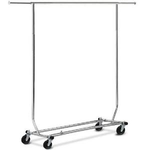 Clothing Garment Rack Simplehouseware Heavy Duty Steel Chrome Finish Collapsible