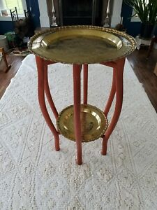 Vintage Spider Leg Folding Side Table With Hong Kong Brass Trays