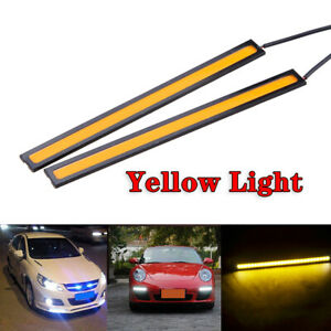 2x Yellow 12v Led Strip Drl Daytime Running Lights Fog Cob Car Lamp Day Driving