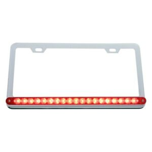 Chrome License Plate Frame W 19 Red Led 12 Reflector Light Bar