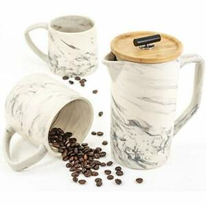 Ceramic Marble 28oz French Press Coffee Maker And Large Mugs Set Hand-Crafted $97.49