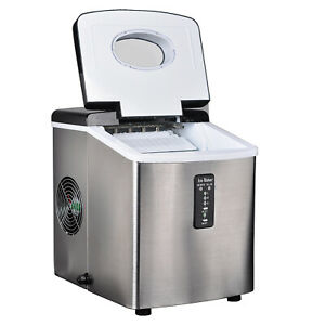 Smad Portable 33 Lbs Ice Maker 3 Cube Sizes Compact Ice Cubes Machine Silver Bar