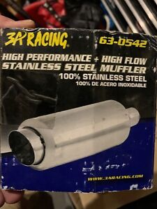 3a Racing 63 0542 Stainless Steel Fireball Style High Flow Performance Muffler