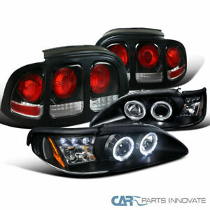 For Ford 94 98 Mustang Cobra Black Halo Projector Headlights tail Brake Lights