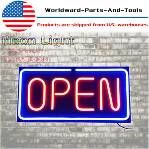 Neon Open Sign 24x12 Inch Led Light 30w Horizontal Pubs Decorate Hanging Chain