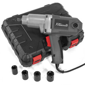 1 2 Electric corded Impact Wrench Torque Tool W Case 4 Sockets Driver Grey