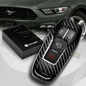 For Ford Mustang Real Carbon Fiber 3 4 Button Smart Remote Key Shell Cover Case