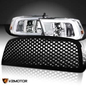 Fit 2009 2018 Dodge Ram 1500 Projector Headlight W led Drl Tube black Abs Grille