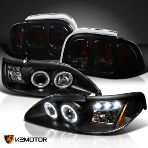 Fit 1994 1998 Ford Mustang Led Halo Black Projector Headlights Smoke Tail Lamps