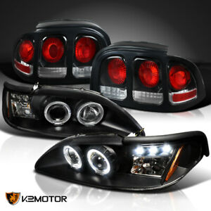 Fit 1994 1998 Ford Mustang Led Halo Black Projector Headlights Tail Brake Lamps
