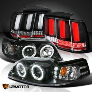 Fit 1999 2004 Mustang Halo Black Projector Headlights sequential Led Tail Lights