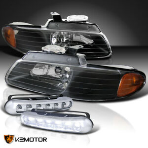 1996 2000 Caravan Chrysler Town Country Voyager Black Headlights led Fog Lamps